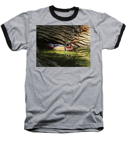 Wood Duck In Wood Baseball T-Shirt