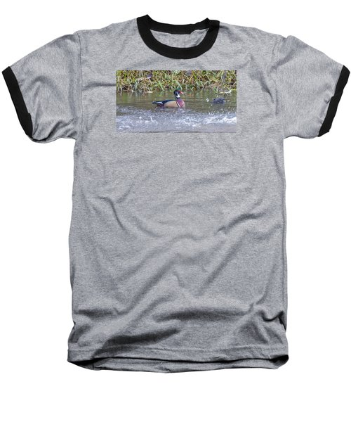 Baseball T-Shirt featuring the photograph Wood Duck by Jerry Cahill