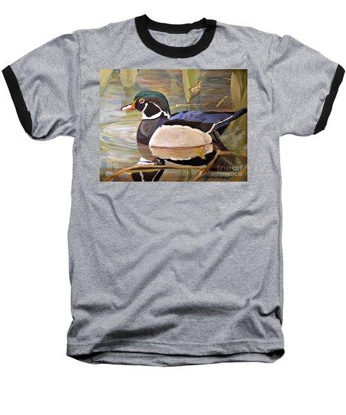 Wood Duck On Pond Baseball T-Shirt
