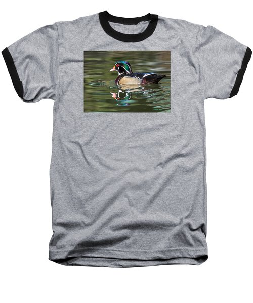 Wood Duck Reflections At Sterne Park Baseball T-Shirt by Stephen  Johnson