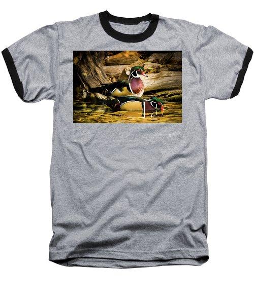 Wood Ducks In Autumn Waters Baseball T-Shirt