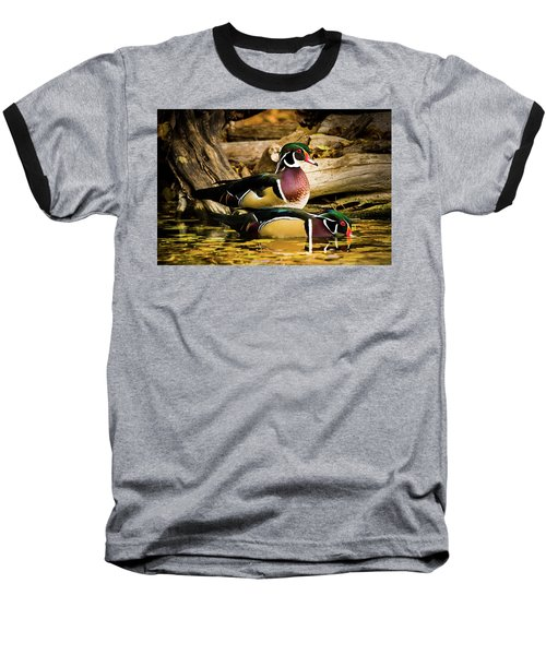 Wood Ducks In Autumn Waters Baseball T-Shirt
