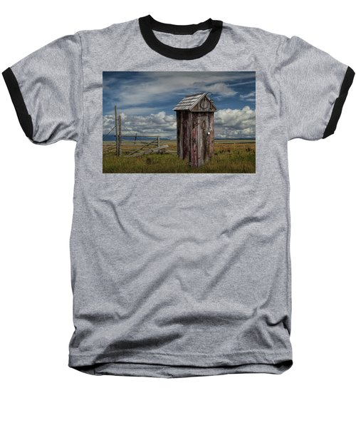 Wood Outhouse Out West Baseball T-Shirt by Randall Nyhof