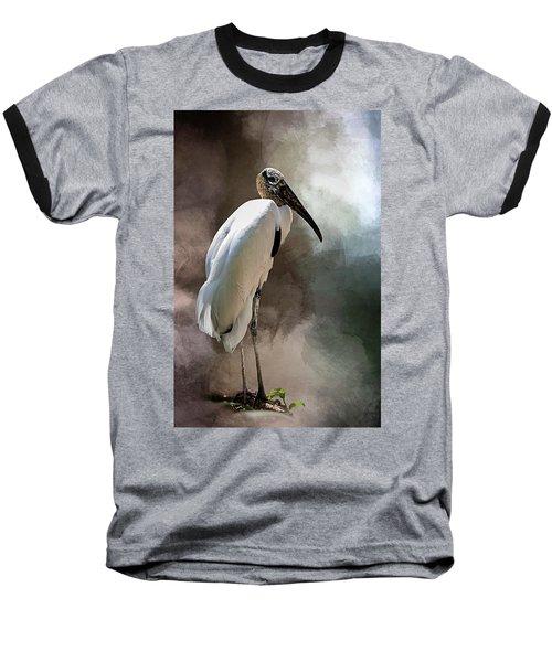 Wood Stork Baseball T-Shirt by Cyndy Doty