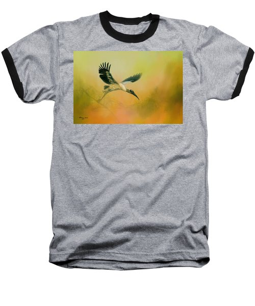 Baseball T-Shirt featuring the photograph Wood Stork Encounter by Marvin Spates