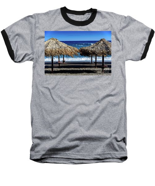Wood Thatch Umbrellas On Black Sand Beach, Perissa Beach, In Santorini, Greece Baseball T-Shirt