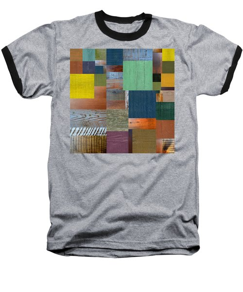 Baseball T-Shirt featuring the digital art Wood With Teal And Yellow by Michelle Calkins