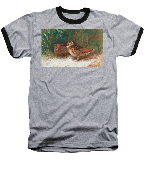 Woodcock In The Undergrowth Baseball T-Shirt by Archibald Thorburn