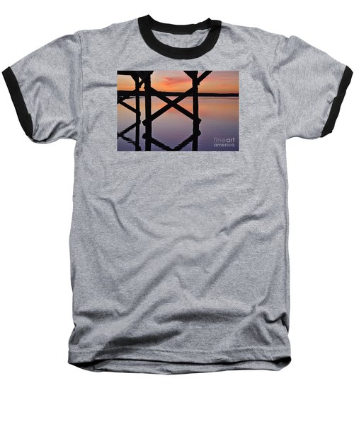 Wooden Bridge Silhouette At Dusk Baseball T-Shirt