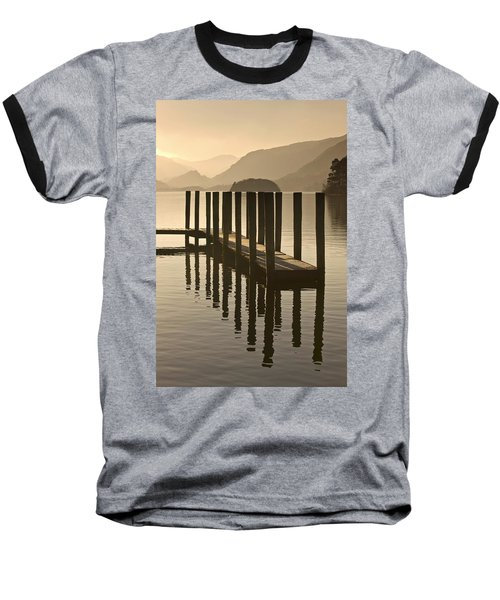 Wooden Dock In The Lake At Sunset Baseball T-Shirt by John Short