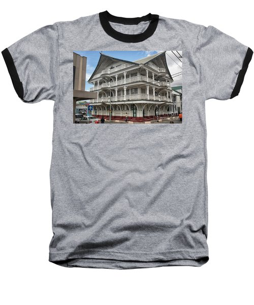 Wooden House In Colonial Style In Downtown Suriname Baseball T-Shirt by Patricia Hofmeester