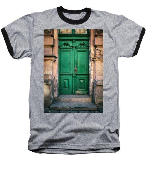 Wooden Ornamented Gate In Green Color Baseball T-Shirt by Jaroslaw Blaminsky