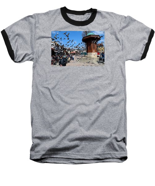 Wooden Ottoman Sebilj Water Fountain In Sarajevo Bascarsija Bosnia Baseball T-Shirt by Imran Ahmed