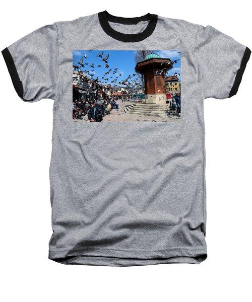 Wooden Ottoman Sebilj Water Fountain In Sarajevo Bascarsija Bosnia Baseball T-Shirt