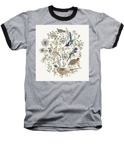 Woodland Edge Birds Placement Baseball T-Shirt by Jacqueline Colley