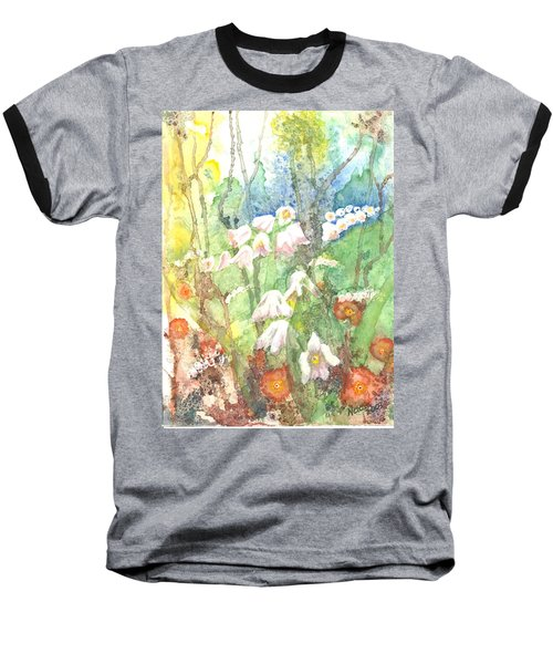 Baseball T-Shirt featuring the painting Woodland Garden by Renate Nadi Wesley