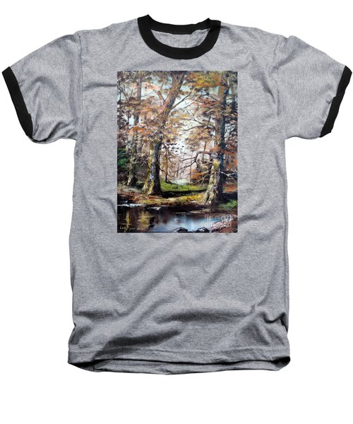 Baseball T-Shirt featuring the painting Woodland Pond  by Lee Piper
