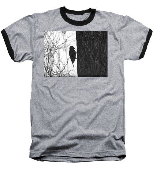 Baseball T-Shirt featuring the drawing Woodpecker by Anna  Duyunova