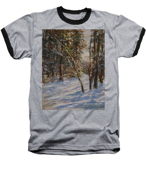 Woods And Snow At Two Below Baseball T-Shirt by Jack Skinner