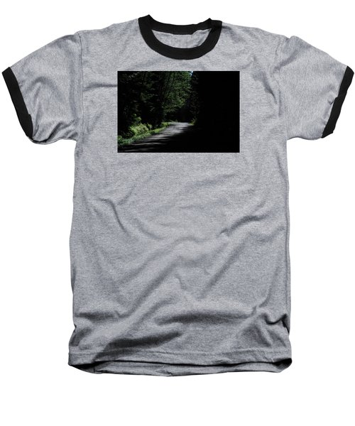 Woods, Road And The Darkness Baseball T-Shirt by John Rossman