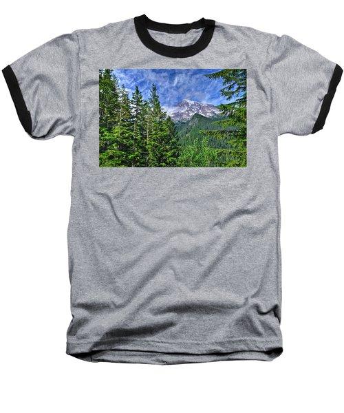 Woods Surrounding Mt. Rainier Baseball T-Shirt
