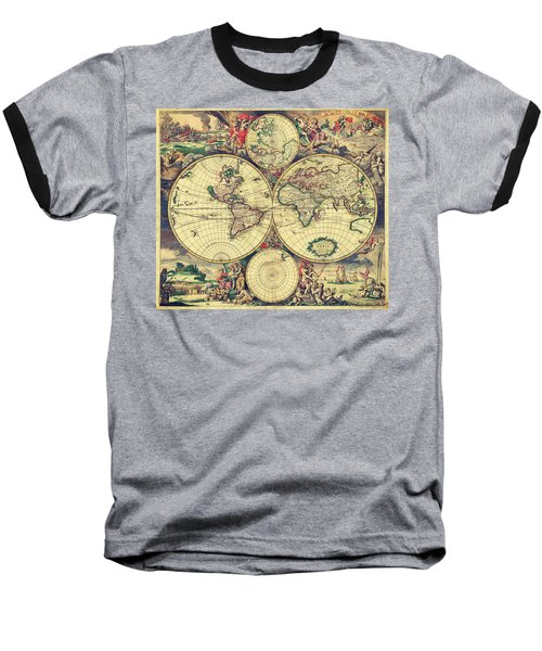 World Map 1689 Baseball T-Shirt