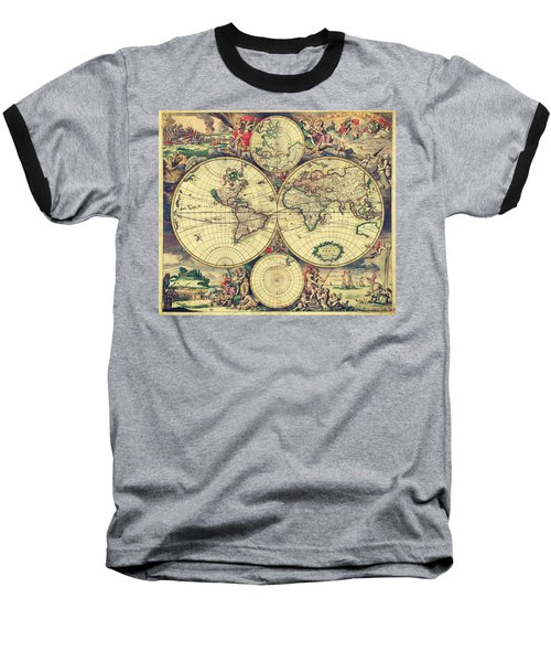 World Map 1689 Baseball T-Shirt