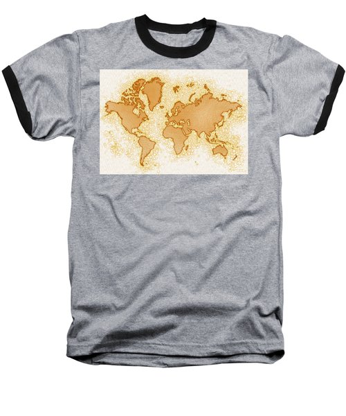 World Map Airy In Brown And White Baseball T-Shirt by Eleven Corners