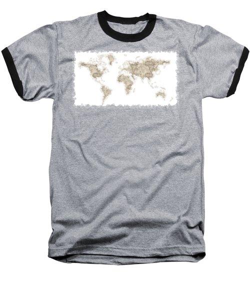 World Map Baseball T-Shirt by Anton Kalinichev