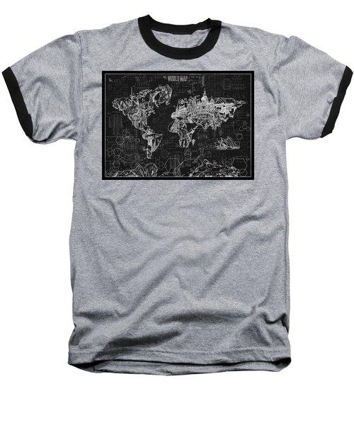 Baseball T-Shirt featuring the digital art World Map Blueprint 2 by Bekim Art