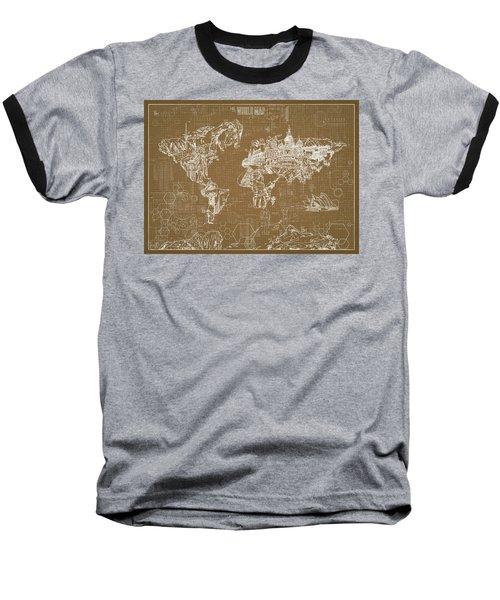 Baseball T-Shirt featuring the digital art World Map Blueprint 4 by Bekim Art