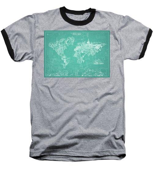 Baseball T-Shirt featuring the digital art World Map Blueprint 7 by Bekim Art