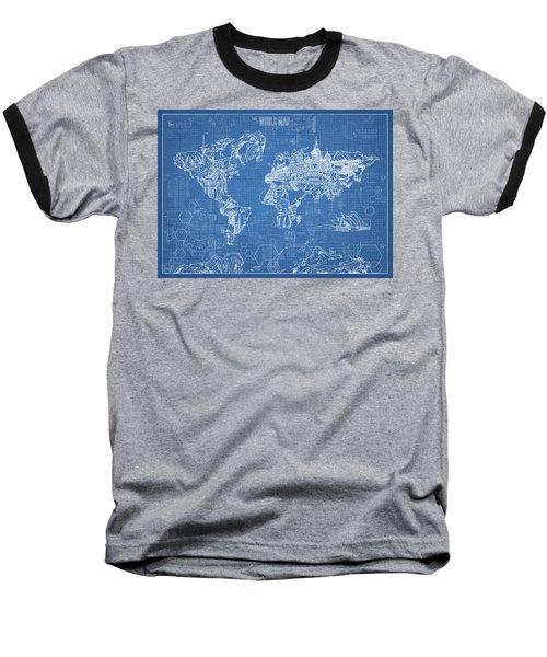 Baseball T-Shirt featuring the digital art World Map Blueprint by Bekim Art