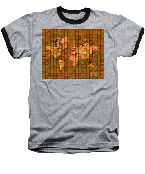 World Map Glasa Brown Orange Green Baseball T-Shirt