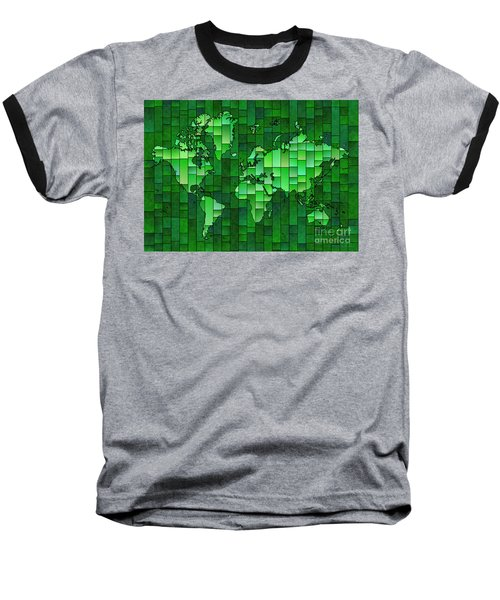 World Map Glasa Green Baseball T-Shirt