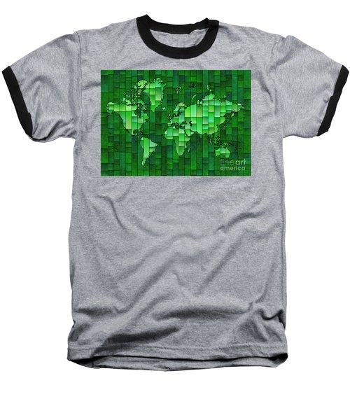 World Map Glasa Green Baseball T-Shirt