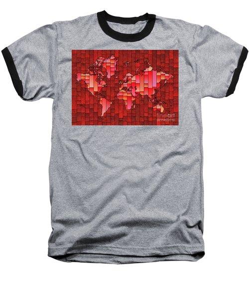 World Map Glasa Red Baseball T-Shirt
