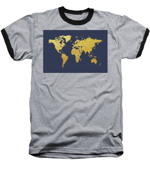World Map Gold Foil Baseball T-Shirt