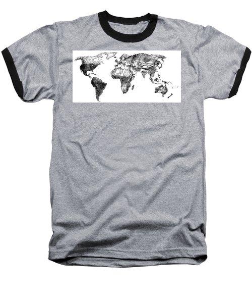 World Map In Graphite Baseball T-Shirt by Heidi Kriel