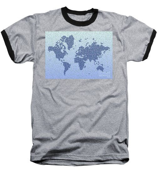 World Map Kotak In Blue Baseball T-Shirt