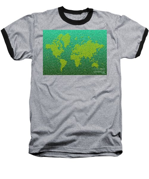 World Map Kotak In Green And Yellow Baseball T-Shirt
