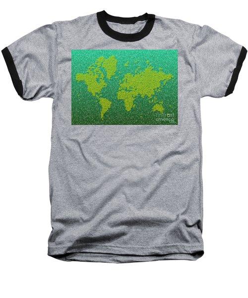 World Map Kotak In Green And Yellow Baseball T-Shirt