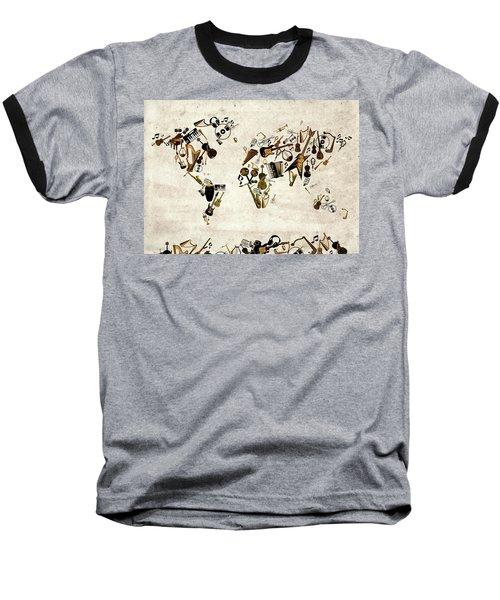 Baseball T-Shirt featuring the digital art World Map Music 1 by Bekim Art