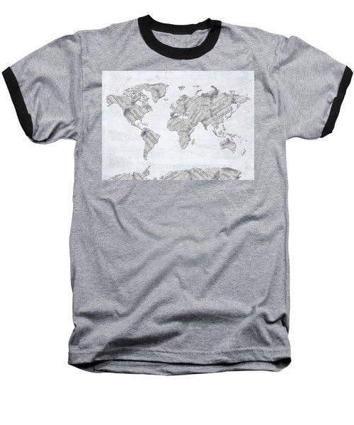 Baseball T-Shirt featuring the digital art World Map Music 10 by Bekim Art