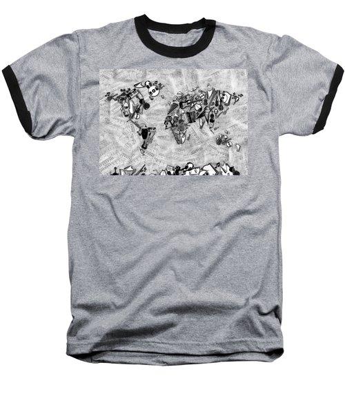 Baseball T-Shirt featuring the digital art World Map Music 2 by Bekim Art