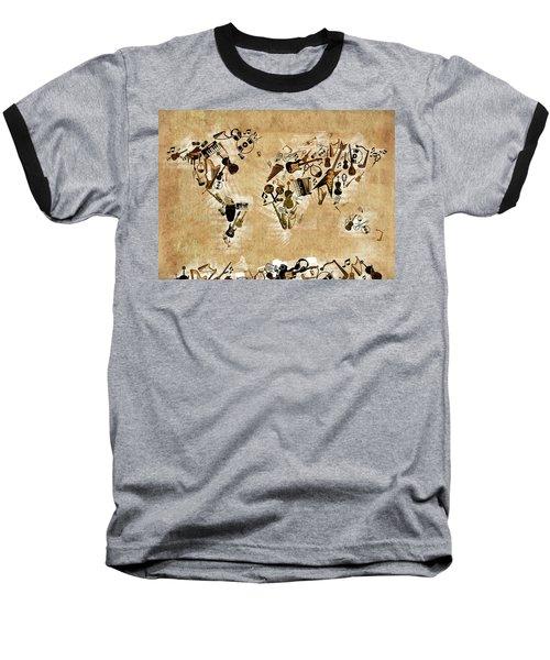 Baseball T-Shirt featuring the digital art World Map Music 4 by Bekim Art