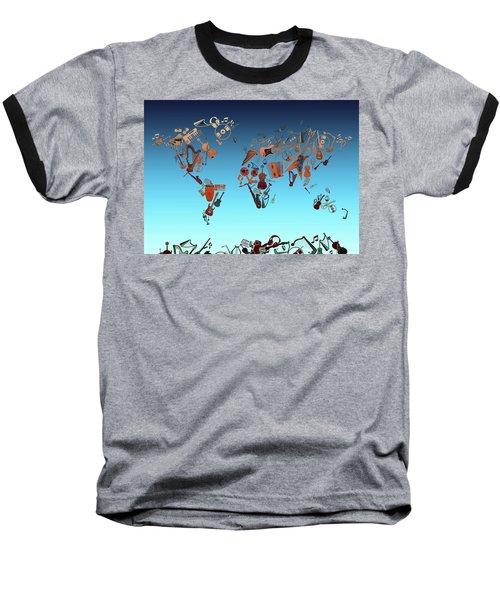 Baseball T-Shirt featuring the digital art World Map Music 6 by Bekim Art