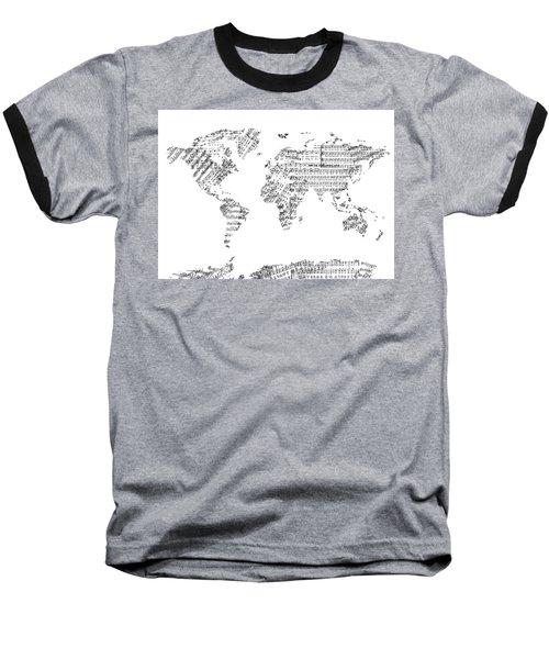 Baseball T-Shirt featuring the digital art World Map Music 8 by Bekim Art