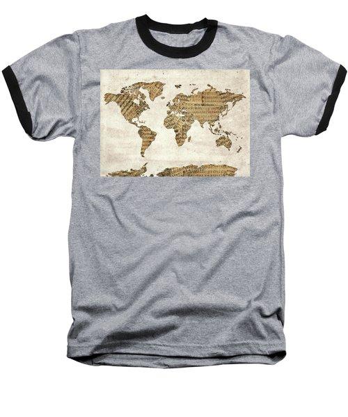 Baseball T-Shirt featuring the digital art World Map Music 9 by Bekim Art