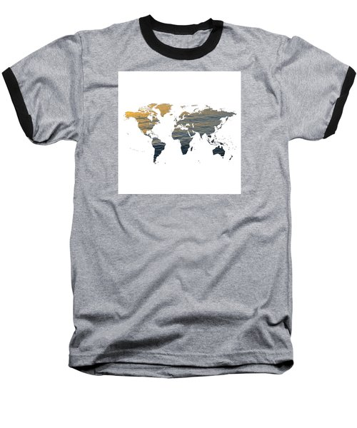 World Map - Ocean Texture Baseball T-Shirt